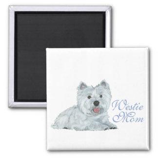 Westie Mamma Quadratischer Magnet
