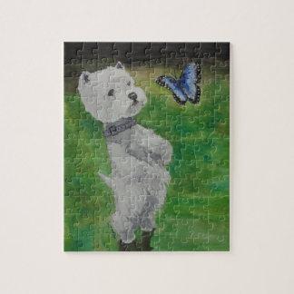 Westie mit Schmetterling Puzzle