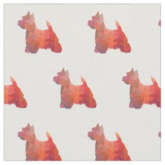 Westie Terrier-Silhouette mit Ziegeln gedeckt - Stoff