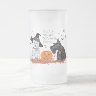 Westie und Scottie Halloween Mattglas Bierglas