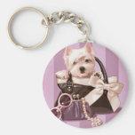 Westie Welpe in der Handtasche Schlüsselanhänger