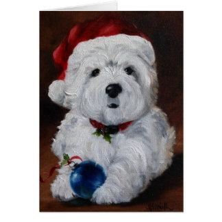 Westie Westfrohe Weihnacht-Karte hochland-Terriers Grußkarte