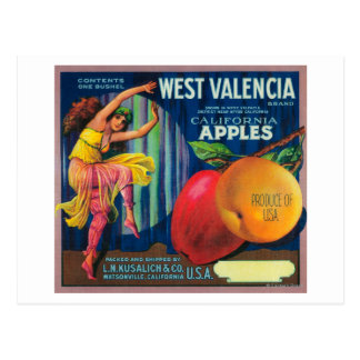 Westkiste LabelWatsonville, CA valencias Apple Postkarte