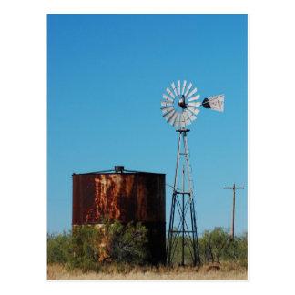 Westtexaswindmühlen-und -wasser-Behälter Postkarte