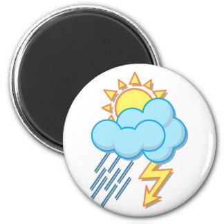 Wetter Sonne Regen Blitze weather sun rain Runder Magnet 5,1 Cm
