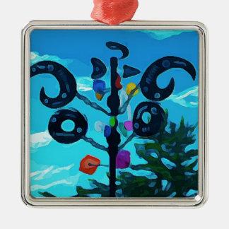 Wetterfahne in Sedona Quadratisches Silberfarbenes Ornament