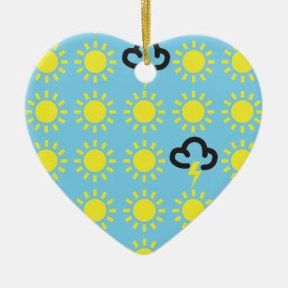 Wettergeschehen: Retro Wettervorhersagesymbole Keramik Herz-Ornament