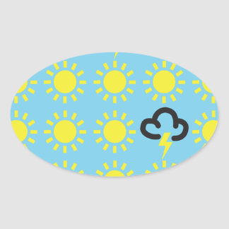 Wettergeschehen: Retro Wettervorhersagesymbole Ovaler Aufkleber