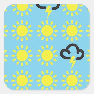 Wettergeschehen: Retro Wettervorhersagesymbole Quadrat-Aufkleber