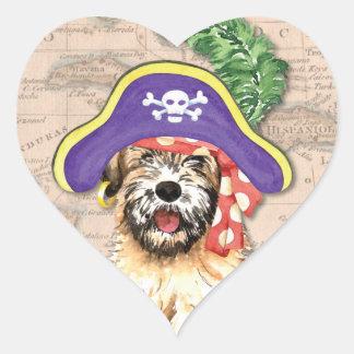 Wheaten Pirat Herz-Aufkleber