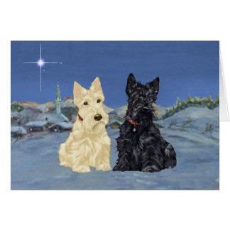 Wheaten schwarzes Scotties-Weihnachten Karte
