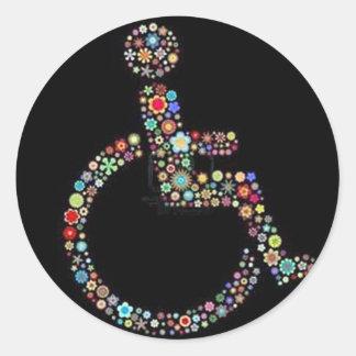 wheelchair_funky_zazzle.jpeg runder aufkleber