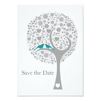 whimsy Baum blaues Lovebirds-Mod Save the Date Ankündigungen