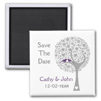 whimsy Baum lila Lovebirds-Mod Save the Date Quadratischer Magnet