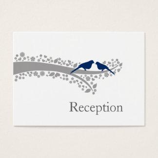 whimsy Baummarineblau Lovebirds Empfangs-Karten Visitenkarte