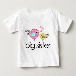 Whimsy Vogel-große Schwester-T - Shirt-Mitteilung Baby T-shirt