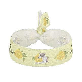 Whippet mit gelben Rosen Haarband