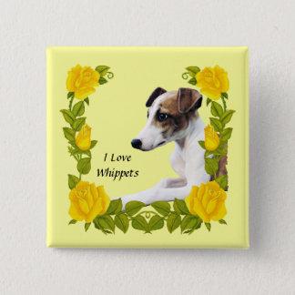 Whippet mit gelben Rosen Quadratischer Button 5,1 Cm