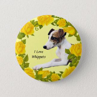 Whippet mit gelben Rosen Runder Button 5,1 Cm