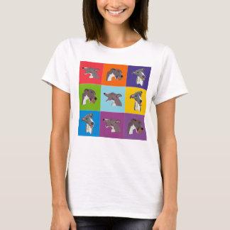 Whippet Pop-Kunstmontage-Spaghetti-Spitze T-Shirt
