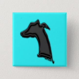 Whippet Silhouette Quadratischer Button 5,1 Cm