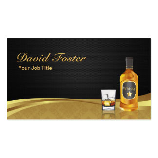 Whisky-Flaschen-Eis-eleganter schwarzer Visitenkartenvorlagen
