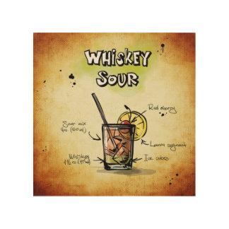 Whisky-saures Cocktail-Rezept Holzdrucke
