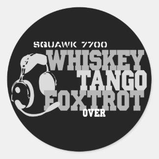 WhiskyTango Foxtrot - Luftfahrt-Spaß Runder Aufkleber