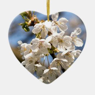 White Cherry Blossoms Keramik Ornament