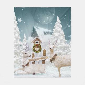 White Christmas Reindeer Fleecedecke