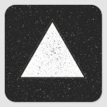 White hipster space triangle black background square stickers