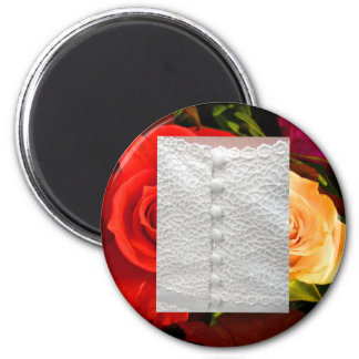 White Wedding Gown Red Yellow Roses Magnet Refrigerator Magnet
