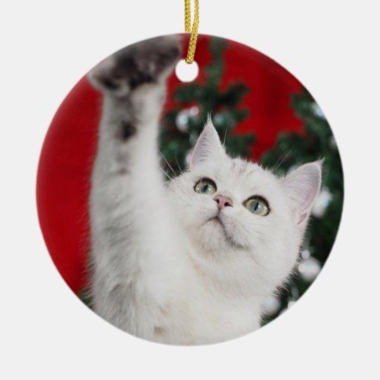 White XMAS Cat Keramik Ornament