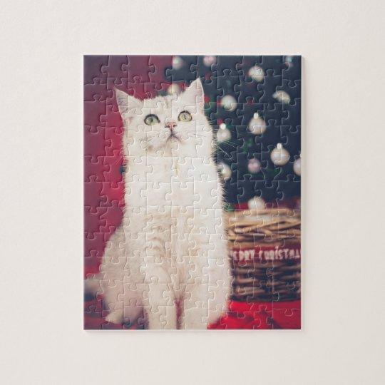 White XMAS Cat Puzzle