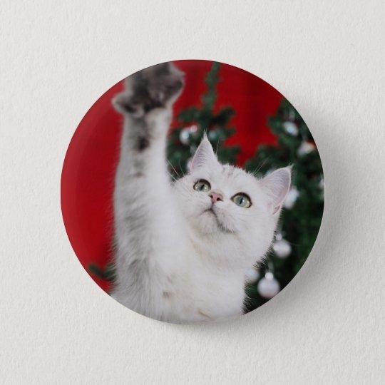 White XMAS Cat Runder Button 5,1 Cm
