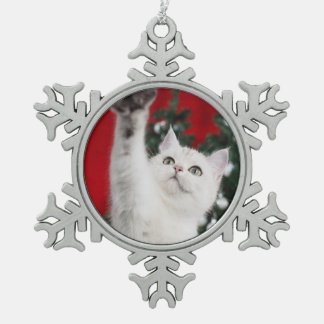 White XMAS Cat Schneeflocken Zinn-Ornament