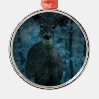 Whitetaildollar Rotwild Leben Sturm Outdoorsman Rundes Silberfarbenes Ornament
