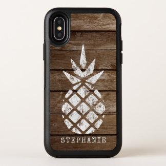 Whitewash-Ananas auf Imitat verwittertem Holz OtterBox Symmetry iPhone X Hülle
