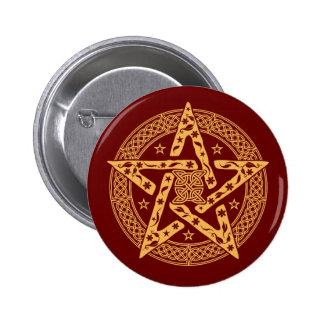 Wiccan keltisches BlumenPentgram mit Sternen Runder Button 5,1 Cm