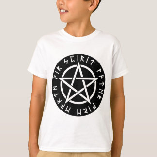 Wiccan schwarzer Runic Pentagram T-Shirt