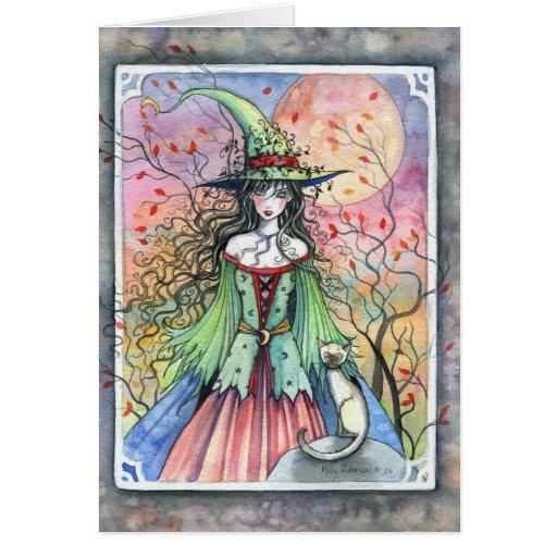 Wiccan siamesische Halloween Hexe-Karte