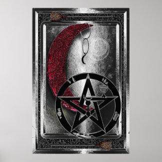 Wiccan silberner Cresent Mond u. Pentagramm Poster