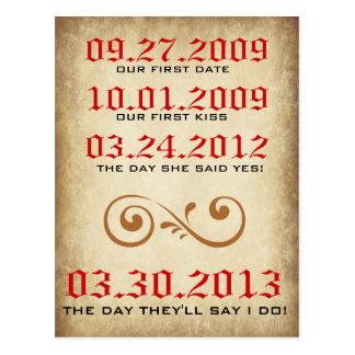 Wichtige Datums-Vintage Save the Date Postkarte