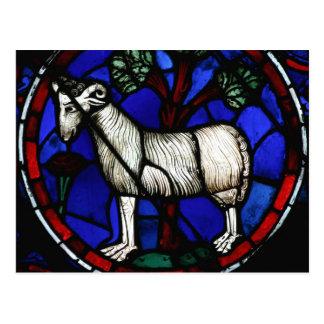 Widder - Astrologie - gotisches Buntglas Windows - Postkarte