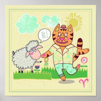 Widder-Katzen-Tierkreis-Kinderzimmer-Druck Poster