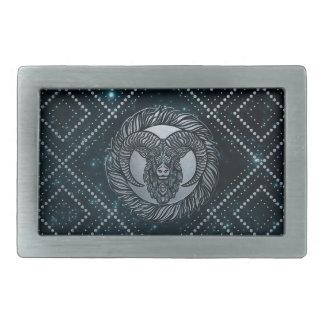 Widder-Tierkreis-Silber geprägt auf dem Rechteckige Gürtelschnalle
