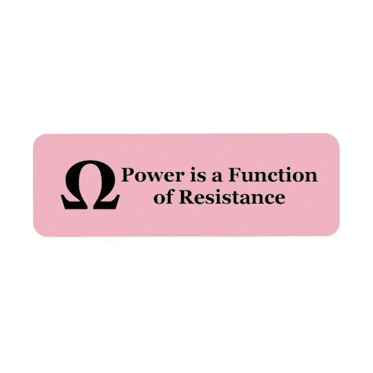 Widerstand → Power-Aufkleber Rücksendeetikett
