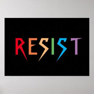 Widerstehen Sie im Regenbogen-Farbplakat Poster