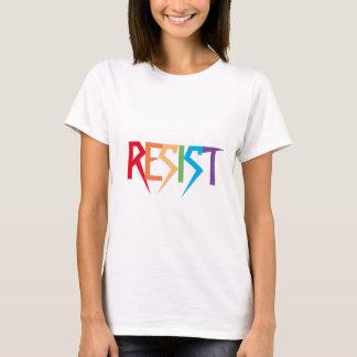 Widerstehen Sie im Regenbogen-Farbunteilbaren T-Shirt