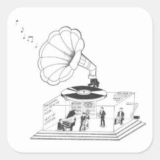 Wie arbeitet ein Grammophon wirklich? Quadratischer Aufkleber